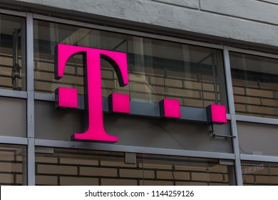 Arnhem, Netherlands 15.04.2018: T-Mobile is the brand name used by the mobile communications subsidiaries of the German telecommunications company Deutsche Telekom.