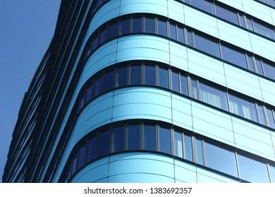 Arnhem, Netherlands - April 22, 2019: Detail of the modern business center WTC in the center of Arnhem
