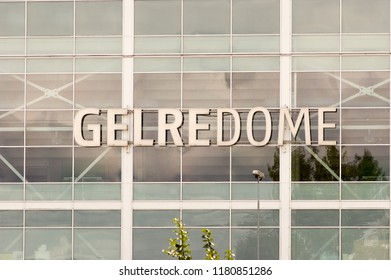 Arnhem, Netherlands - August 30, 2018: Gelredome, a  facade of a soccer stadium