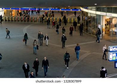 Arnhem, Netherlands - February 26, 2019: The hall of Arnhem central station with people