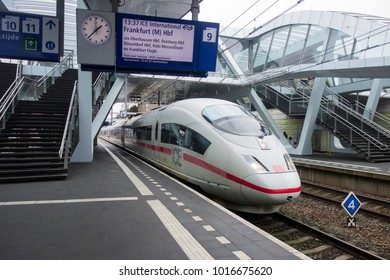 ARNHEM, THE NETHERLANDS - JANUARI 22, 2018; Intercity Express (ICE) train to Frankfurt arrived at Arnhem central station