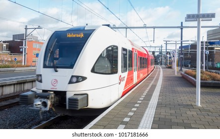 ARNHEM, THE NETHERLANDS - January 22, 2018; Sprinter of the type SPURT from Arriva at Arnhem central station