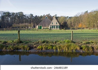 Arnhem, Netherlands - January 7, 2015: Farm Midlum in the landscape of Dutch Open Air Museum in Arnhem Netherlands