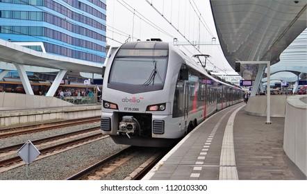 Arnhem / Netherlands - June 19 2018: Abellio Rhein IJssel Express (RE 19) to Dusseldorf is waiting at the railway station of Arnhem. The train is a Stadler Flirt 3.