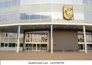 Arnhem, Netherlands - June 3, 2019: The main entrance entryof Gelredome with the Vitesse logo. Gelredome is a football stadium in the city of Arnhem