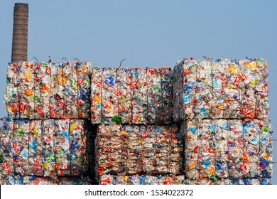 ARNHEM, NETHERLANDS - MAR 15, 2011: Pressed recycled plastic bottles in bales at an undisclosed recycling facility.