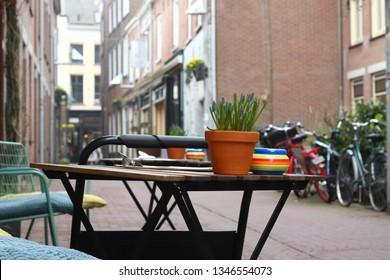 ARNHEM, NETHERLANDS - MARCH 22, 2019: Nice and picturesque ancient streets in the center of Arnhem: Bentinckstraat