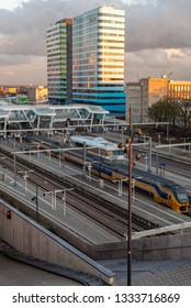 Arnhem, The Netherlands- March 3, 2015: Arnhem Central Station NS Trains during daytime
