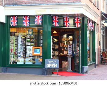 ARNHEM, NETHERLANDS - MARCH 30, 2019: The English Shop in the ancient and cosy touristic center of Arnhem