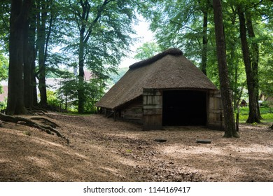 Arnhem, Netherlands - May 2018: Netherlands traditional architecture, old dutch houses and gardening in open-air ethnographic museum by Arnhem.