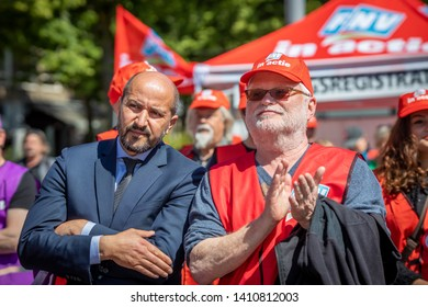 Arnhem, The Netherlands - May 29 2019 - Union FNV and CNV demonstration to keep the retirement age on 66