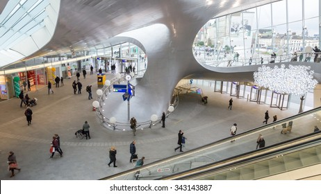 ARNHEM, NETHERLANDS - NOV 21, 2015: Main entrance hall of the newly opened Arnhem CS central train station.