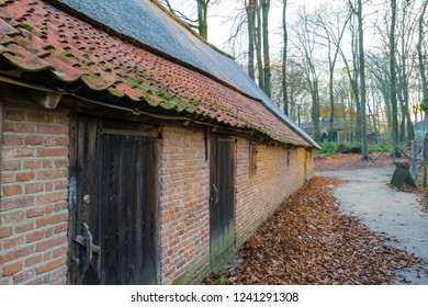 ARNHEM, NETHERLANDS - NOVEMBER 23, 2018- Side of a traditional Dutch house and architecture in the Open air museum in Arnhem, Netherlands