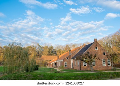 ARNHEM, NETHERLANDS - NOVEMBER 23, 2018: A traditional Dutch house with typical Dutch architecture in the Open air museum in Arnhem, Netherlands