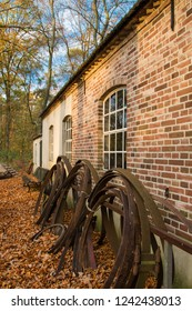ARNHEM, NETHERLANDS - NOVEMBER 23, 2018: Typical Dutch architecture with iron on the side of a house in the open air museum in Arnhem