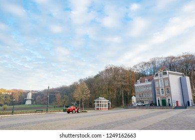 ARNHEM, NETHERLANDS - NOVEMBER 23, 2018- Square with two buildings representing the -Westerstraat-, a typical Dutch street in Amsterdam at the Open air museum in Arnhem