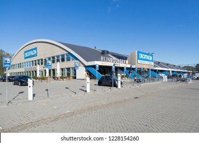 ARNHEM, THE NETHERLANDS - OCTOBER 28, 2018: Decathlon branch. Decathlon is a French sporting goods retailer, the largest sporting goods retailer in the world.