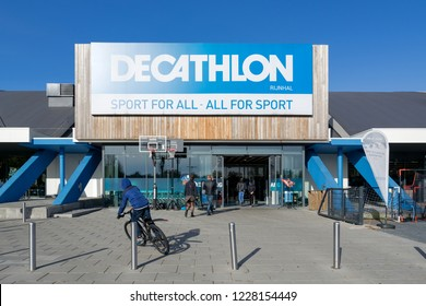 ARNHEM, THE NETHERLANDS - OCTOBER 28, 2018: Entrance of a Decathlon branch. Decathlon is a French sporting goods retailer, the largest sporting goods retailer in the world.