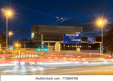 ARNHEM, THE NETHERLANDS - OCTOBER 30, 2017: Busy streets during rush hour in the Dutch city center of Arnhem, The Netherlands.