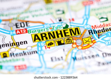 Arnhem. Netherlands on a map