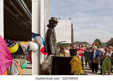 Arnhem, Netherlands - September 28, 2014: artist portrays magician during world championships living statues in Arnhem
