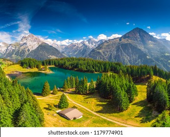 Arnisee with Swiss Alps. Arnisee is a reservoir in the Canton of Uri, Switzerland, Europe.