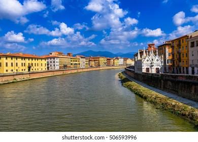 Arno River and Chiesa di Santa Maria della Spina church in Pisa. Tuscany, Italy. Lungarno of Pisa