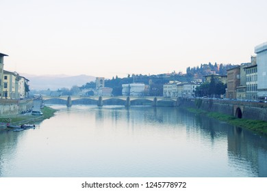 Arno in winter. Florence, Italy