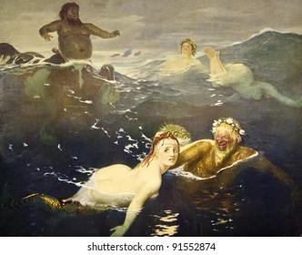 """Arnold Beklin """"In games of waves"""". Illustration from the book """"Paintings by contemporary artists in paint,"""" publisher by Knebel, Moscow, Russia, 1904."""