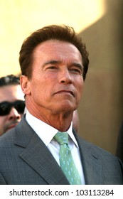 Arnold Schwarzenegger  at the induction ceremony for James Cameron into the Hollywood Walk of Fame, Hollywood Blvd, Hollywood, CA.  12-18-09