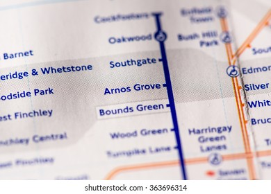 Arnos Grove Station on a map of the Piccadilly metro line in London, UK.