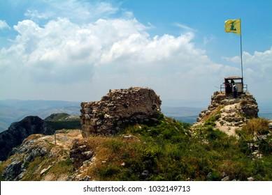 Arnoun, Lebanon - 5.1.05 Hezbollah flag flying over Beaufort Crusader Castle.