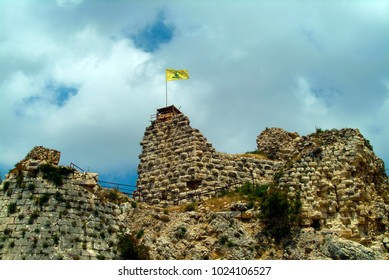 Arnoun, Nabatieh Governorate, Lebanon - 5.1.05 Flag showing Hezbollah control of Beaufort Crusader castle (Qala'at al-Shaqif).
