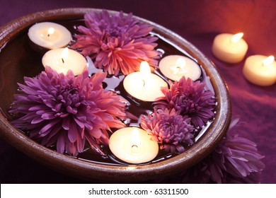Aroma Bowl with Candles and Flowers in Violet