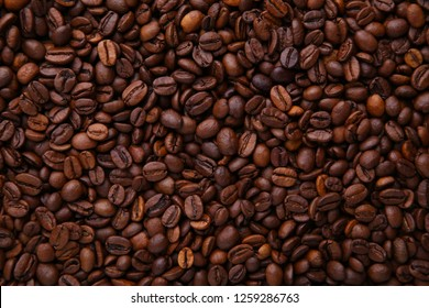 Aroma coffee beans background. Beans close up.