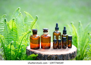 Aroma essential spa oils in bottles on young fern background