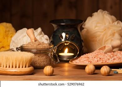 Aroma Lamp With Burning Candle. Aromatherapy. Himalayan Salt. Scrub. Spa Room
