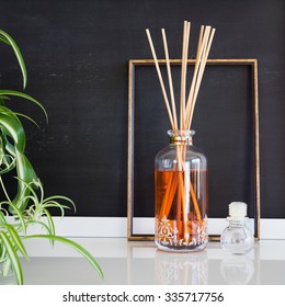 Aroma reed diffuser in contemporary style home interior
