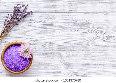 aroma therapy with lavender flower fragrance and spa salt on white wooden background top view space for text