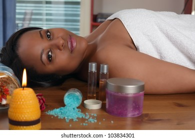 Aromatherapy a beautiful ethnic woman relaxing in spa