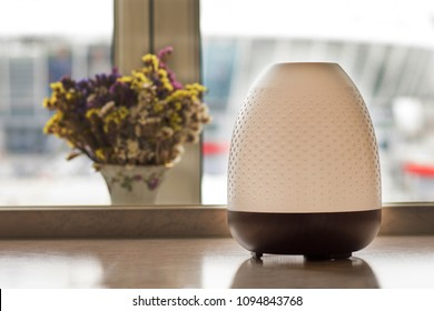 aromatherapy diffuser and plants on table. Electric aroma diffuser