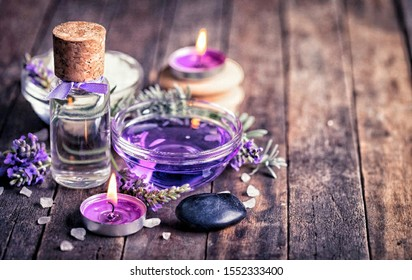 Aromatherapy essential oil and candles