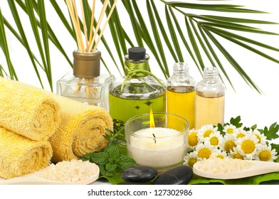 Aromatherapy and massage oils  in a spa