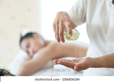 Aromatherapy Massage Spa Oil Aromatherapy oil massage on the body beautiful girl healthy.