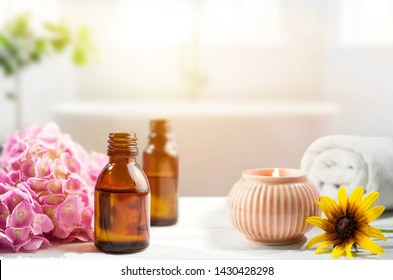 Aromatherapy oils in bathroom, massage, natural medicine, home spa