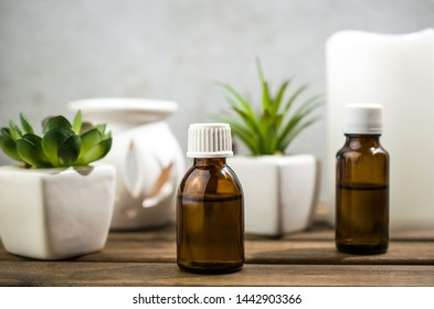 Aromatherapy oils and candle, home spa, natural medicine