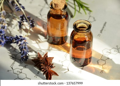 aromatherapy oils on science sheet