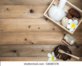 Aromatherapy  product  Spa set ,candle ,soap,coconut,  massage with white  wood background. top view,flat lay composition.