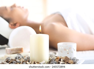 Aromatherapy, relaxation in the wellness clinic. Facials, beauty treatments, natural spa