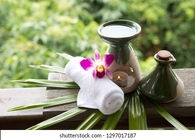 Aromatherapy setting in tropical backdrop